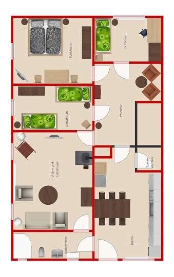 Ferienwohnung-Raumaufteilung